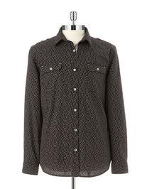 Dkny Jeans Mini Print Roll-Tab Shirt-BLACK-X-Large