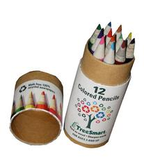 "12-pcs Mini 3.75"" 100% Recycled Newspaper Color Pencil Set"