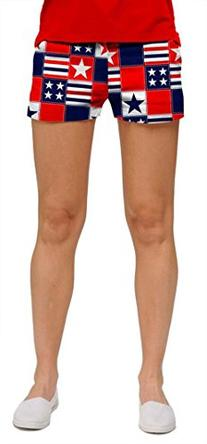 Loudmouth Golf Womens Mini Shorts: Betsy Ross - Size 2