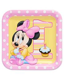 8 Count Minnie's 1st Birthday Square Dinner Plates, Pink