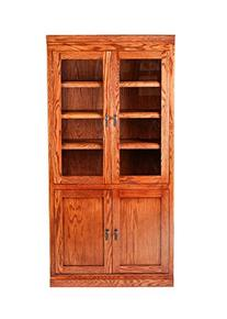 Forest Designs Mission Bookcase w/ Full Glass Doors: 36W X