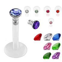 SQdeal Lot of 7 Mix color Premium Czech Crystal Gem Labret