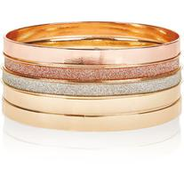 Accessorize Mixed Plate Glitter Bangle Bracelet Pack
