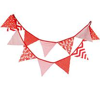 Mixed Red Vintage Fabric Flag Buntings Garlands Wedding