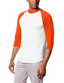MJ Soffe Men's 3/4 Sleeve Baseball Jersey, X-Large, Orange