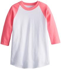 MJ Soffe Kid's 3/4 Sleeve Baseball Jersey, X-Small, Neon