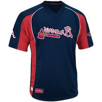 MLB Atlanta Braves Men's True Winner Crew Polo, Navy/Red,