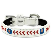 MLB New York Mets Classic Leather Baseball Dog Collar