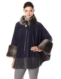Parkhurst Women's Mosaic Faux Fur Trimmed Fleece Cape, Navy/