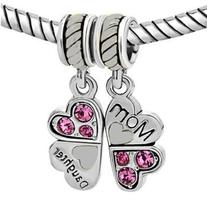 1 Pair Mother Daughter Heart Love Butterfly Charm For Snake