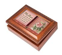 Cottage Garden Mother Mom Woodgrain Religious Music Box /