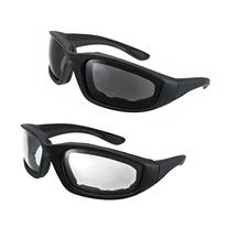 Motorcycle Riding Glasses - 2 Pair Smoke & Clear Biker Foam