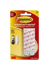 Command Refill Strips, Large, White, 6-Strips
