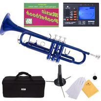 Mendini MTT-BL Blue Lacquer Brass Bb Trumpet + Tuner, Case,