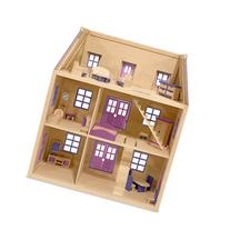 Melissa & Doug Multi-Level Wooden Dollhouse With 19 pcs