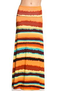 Frumos Womens Tie Dye Maxi Skirts Yellow Orange Rust X-Large
