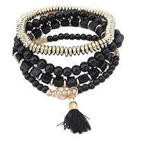 Sannysis Women's Multilayer Beads Bangle Tassels Bracelets
