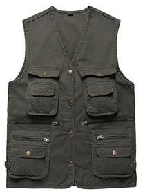 Wantdo Men's Multiple Pockets Cotton Safari Camping Vest US