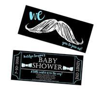 Mustache Baby Shower Invitations Chalk Ticket Little Man