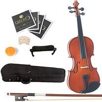 Mendini 1/2 MV200 Solid Wood Natural Varnish Violin with