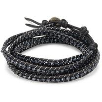 Chan Luu Mystic Black Sterling Silver & Leather Bracelet