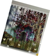 Ambesonne Mystical Magical Tree Anime Moon Fabric Shower