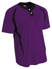 A4 N4229 Adult Two-Button Color Block Baseball Henley -