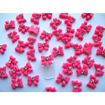 350buy Nail Art 3d 40 Piece Hot Pink BOW TIE /RHINESTONE for