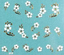 X.T Nail decals nail stickers gold leaves and white flower