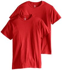 Hanes Men's Nano Premium Cotton T-Shirt Pack of 2, Deep Red