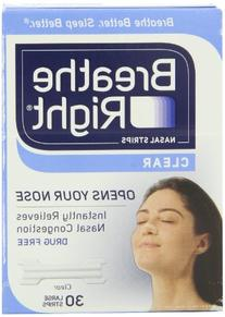Breathe Right Nasal Strips, Large, Clear, 30-Count Boxes