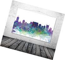 Nashville Skyline, Nashville Poster, Watercolor Cityscape