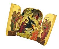 Nativity with Angels Hand Carved Wooden Icon Triptych, 2 3/4