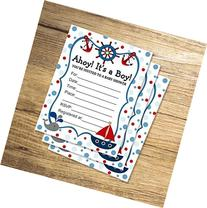 Nautical Fill In Blank Invitations, Flat Cards Set Of 20,