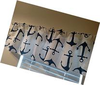 Navy blue anchors on white Valance curtain . Designer, sea,