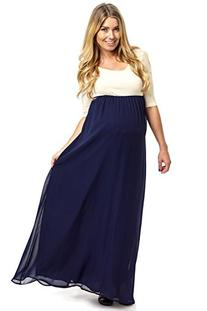 PinkBlush Maternity Navy Blue Chiffon Colorblock Maternity