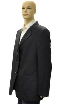 Emporio Armani Navy Cupro Jacket Coat, 46R, Blue