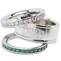 Boston Celtics Logo Crystal Stacked Ring Set