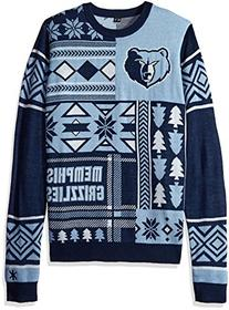 NBA Memphis Grizzlies Patches Ugly Sweater, Blue, Large