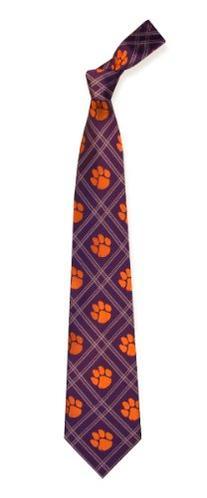 NCAA Clemson Tigers Purple Plaid Woven Tie