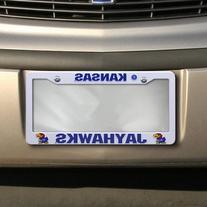 NCAA Kansas Jayhawks Plastic License Plate Frame - White
