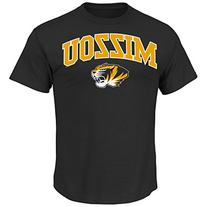NCAA University of Missouri Men's Arch Mascot Tee, Black,