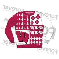 Klew NCAA Busy Block Sweater - X-Large - Wisconsin Badgers