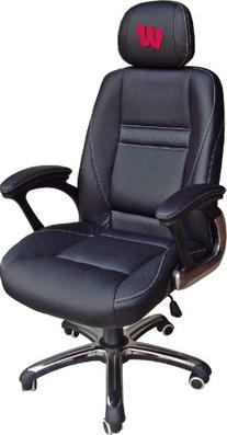 NCAA Wisconsin Badgers Leather Head Coach Office Chair