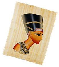 Leolana Nefertiti Egyptian Papyrus Painting 13x17 - Black &