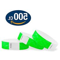 "WristCo Neon Green 3/4"" Tyvek Wristbands - 500 Pack Paper"