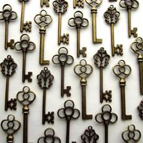 Aokbean Mixed Set of 30 Vintage Skeleton Keys in Antique