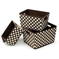Nesting Trapezoid 3 Basket Set in Brown Polka Dots
