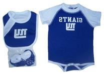 New York Giants Unisex 3 Piece Onesie Infant Set Size 6 - 9