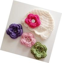 Newborn Baby Girl Hat with Flowers in Sizes Up To 10 Years